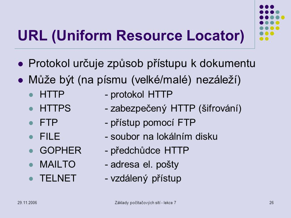 29.11.2006Základy počítačových sítí - lekce 726 URL (Uniform Resource Locator) Protokol určuje způsob přístupu k dokumentu Může být (na písmu (velké/m