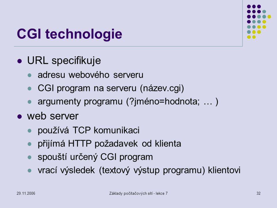 29.11.2006Základy počítačových sítí - lekce 732 CGI technologie URL specifikuje adresu webového serveru CGI program na serveru (název.cgi) argumenty p