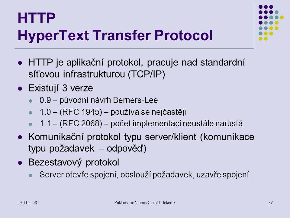 29.11.2006Základy počítačových sítí - lekce 737 HTTP HyperText Transfer Protocol HTTP je aplikační protokol, pracuje nad standardní síťovou infrastruk