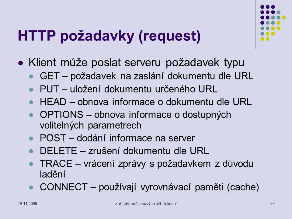 29.11.2006Základy počítačových sítí - lekce 738 HTTP požadavky (request) Klient může poslat serveru požadavek typu GET – požadavek na zaslání dokument