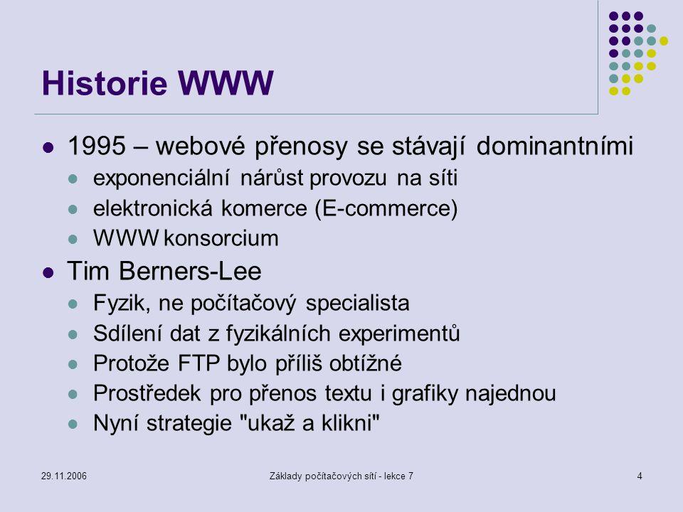 29.11.2006Základy počítačových sítí - lekce 74 Historie WWW 1995 – webové přenosy se stávají dominantními exponenciální nárůst provozu na síti elektro