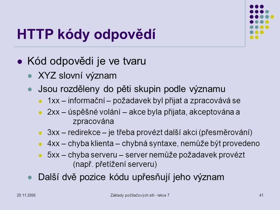 29.11.2006Základy počítačových sítí - lekce 741 HTTP kódy odpovědí Kód odpovědi je ve tvaru XYZ slovní význam Jsou rozděleny do pěti skupin podle význ