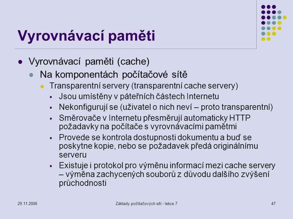 29.11.2006Základy počítačových sítí - lekce 747 Vyrovnávací paměti Vyrovnávací paměti (cache) Na komponentách počítačové sítě Transparentní servery (t