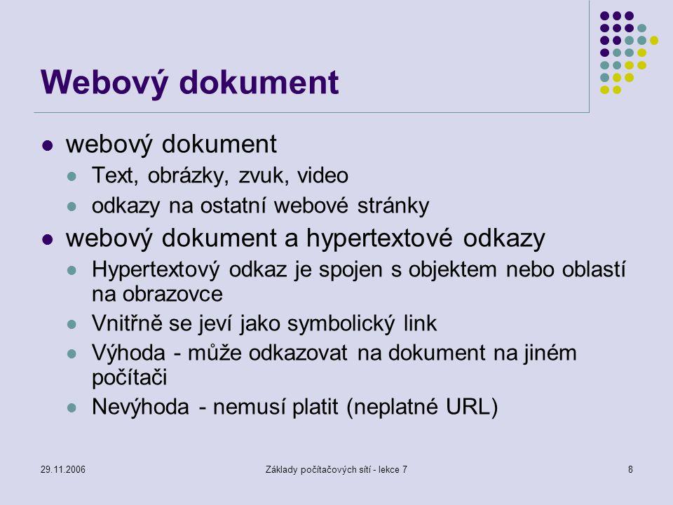 29.11.2006Základy počítačových sítí - lekce 78 Webový dokument webový dokument Text, obrázky, zvuk, video odkazy na ostatní webové stránky webový doku