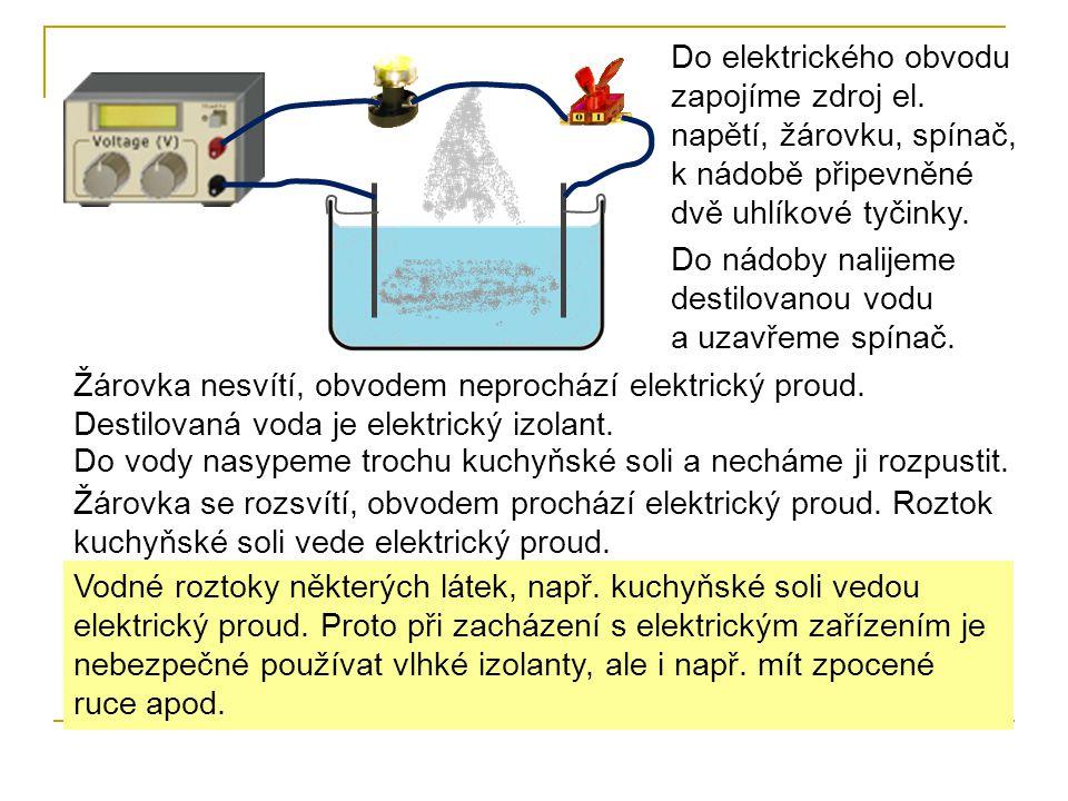 Ve vodě, kterou používáme, jsou rozpuštěny minerály a soli, proto je elektrickým vodičem.