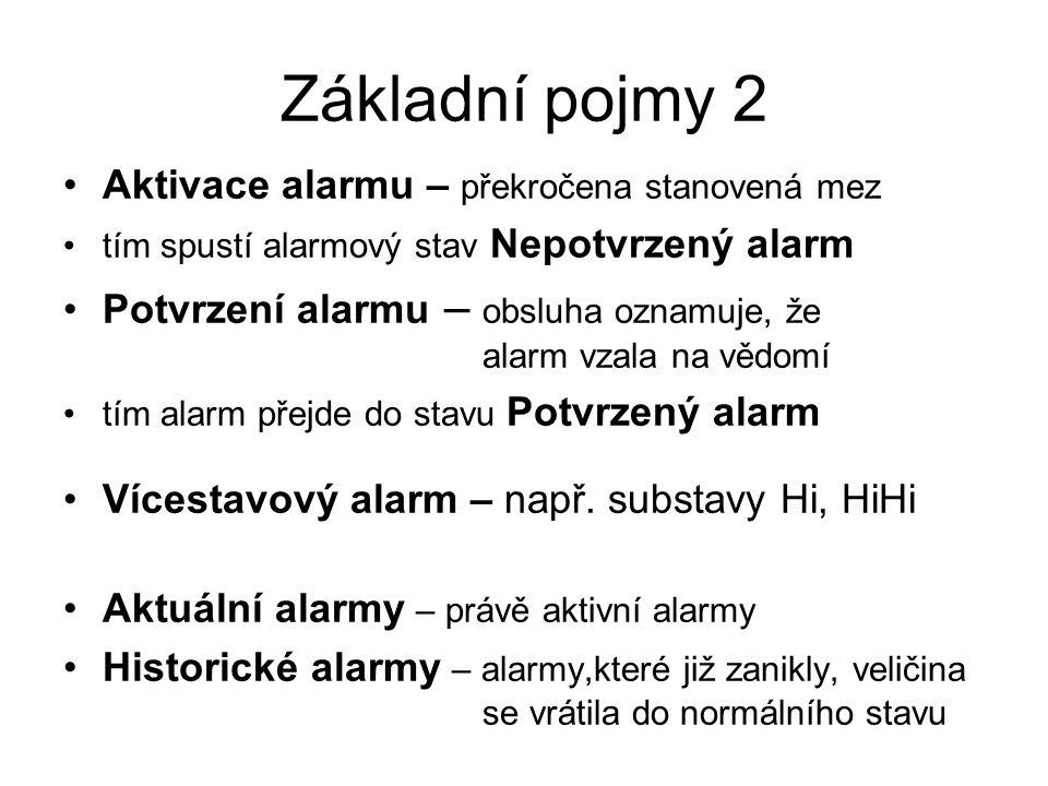 Základní pojmy 2 Aktivace alarmu – překročena stanovená mez tím spustí alarmový stav Nepotvrzený alarm Potvrzení alarmu – obsluha oznamuje, že alarm vzala na vědomí tím alarm přejde do stavu Potvrzený alarm Vícestavový alarm – např.