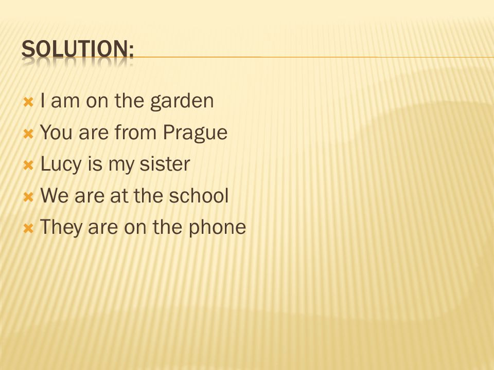  I am on the garden  You are from Prague  Lucy is my sister  We are at the school  They are on the phone
