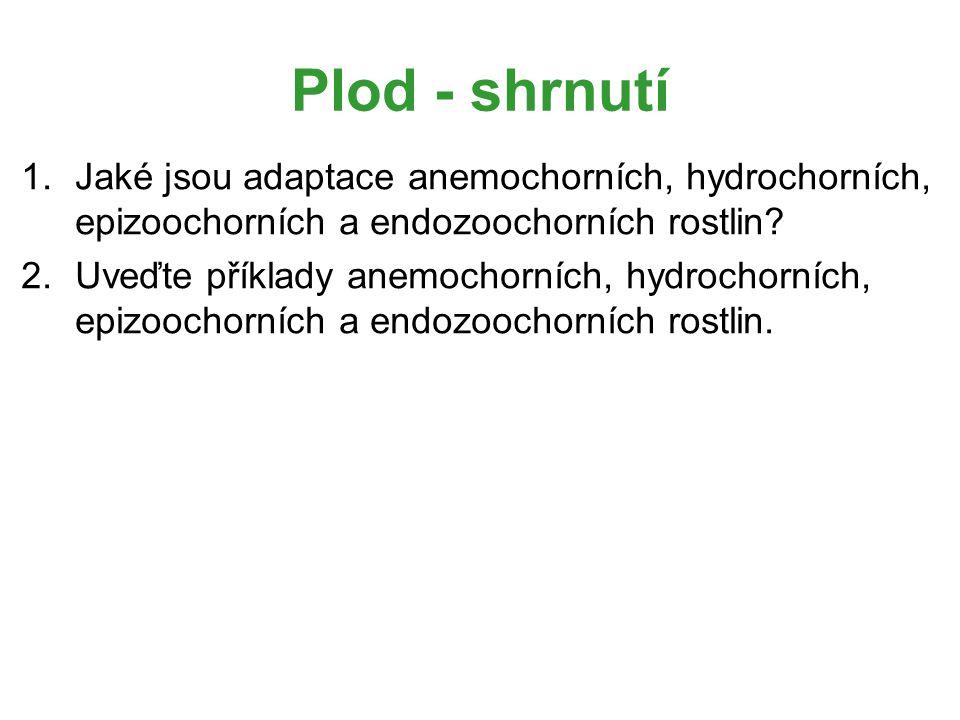 Plod - shrnutí 1.Jaké jsou adaptace anemochorních, hydrochorních, epizoochorních a endozoochorních rostlin? 2.Uveďte příklady anemochorních, hydrochor