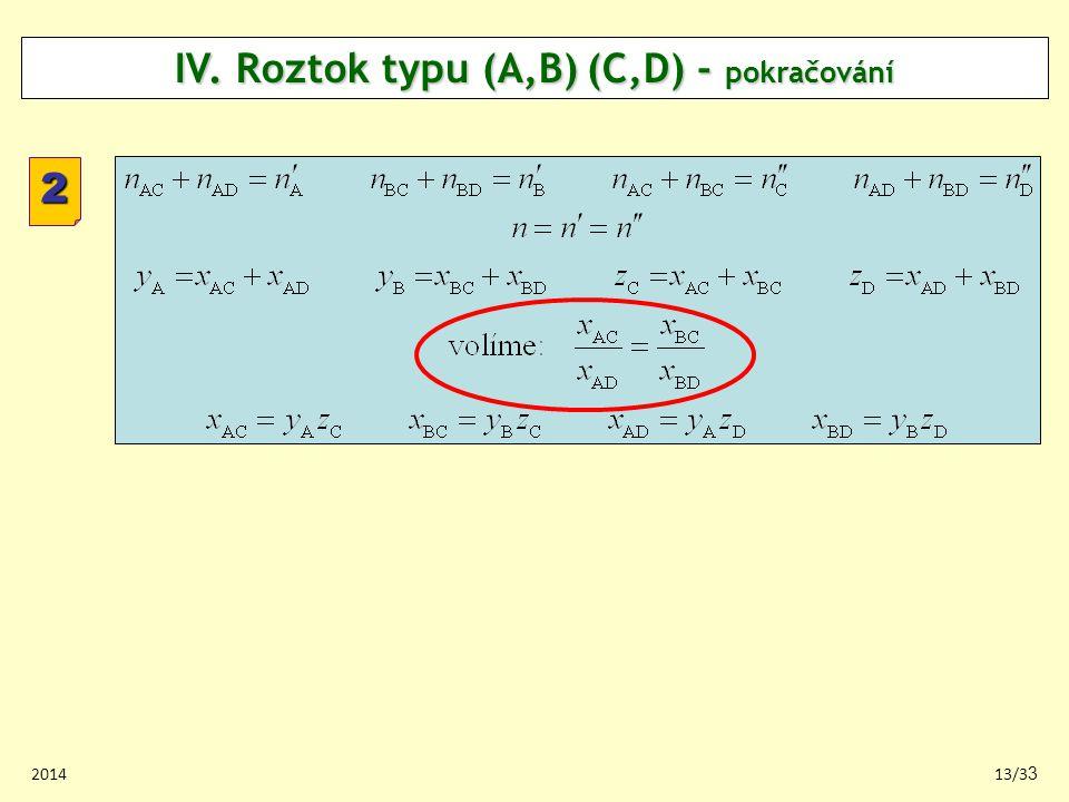 201413/33 2 IV. Roztok typu (A,B) (C,D) - pokračování