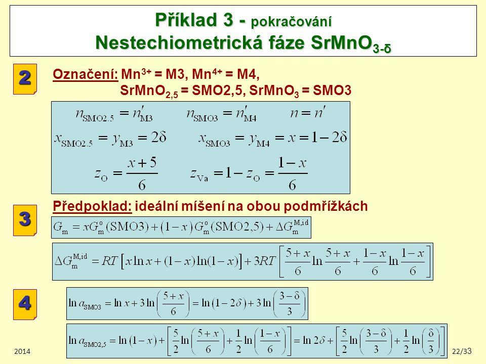 201422/33 Příklad 3 - pokračování Nestechiometrická fáze SrMnO 3-δ 2 Označení: Mn 3+ = M3, Mn 4+ = M4, SrMnO 2,5 = SMO2,5, SrMnO 3 = SMO3 Předpoklad: ideální míšení na obou podmřížkách 3 4
