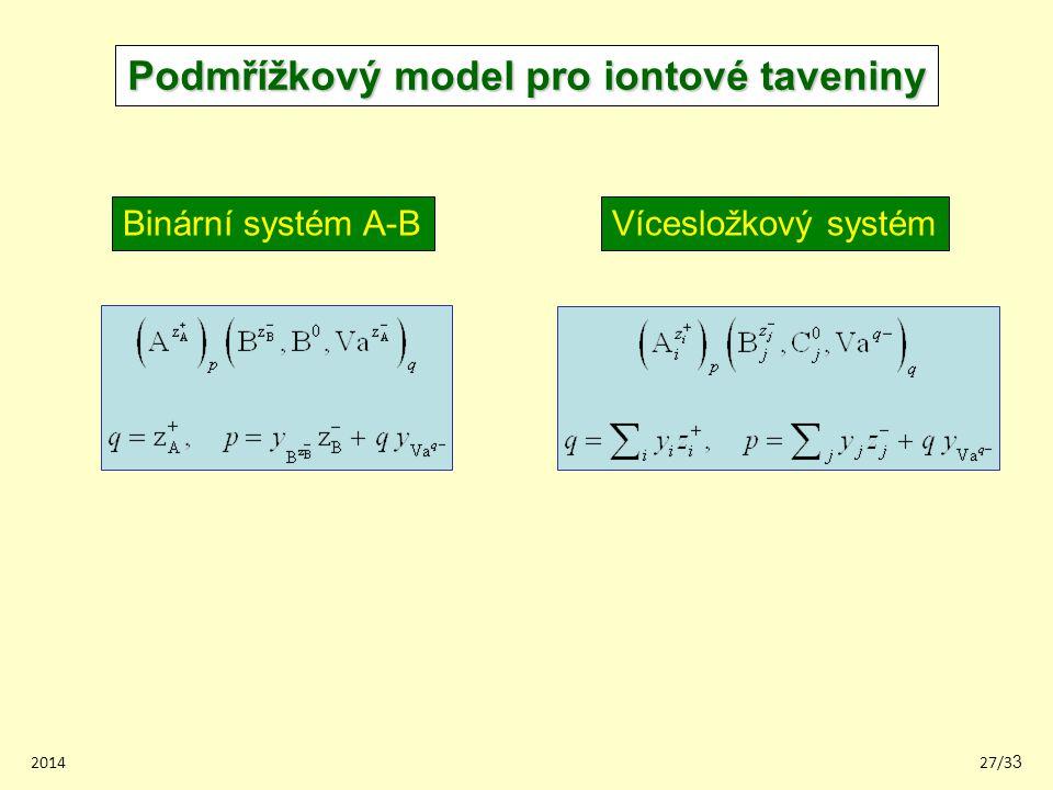 201427/33 Podmřížkový model pro iontové taveniny Binární systém A-BVícesložkový systém