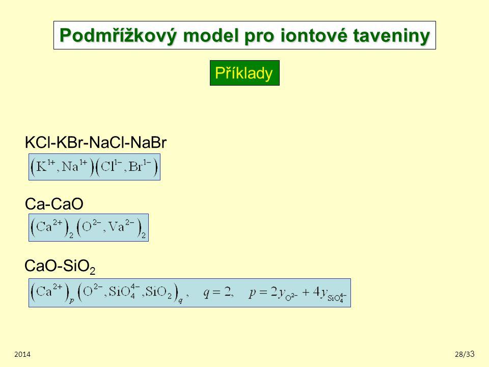 201428/33 Podmřížkový model pro iontové taveniny Příklady KCl-KBr-NaCl-NaBr Ca-CaO CaO-SiO 2
