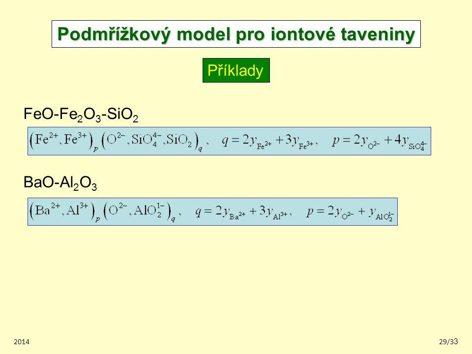 201429/33 Podmřížkový model pro iontové taveniny Příklady BaO-Al 2 O 3 FeO-Fe 2 O 3 -SiO 2
