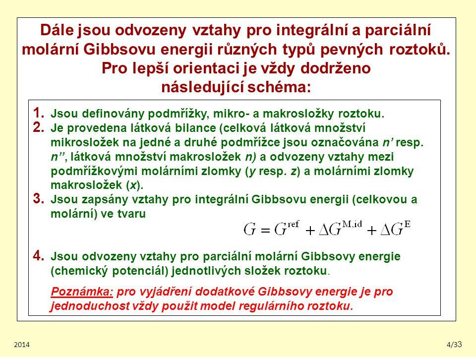 20144/33 Dále jsou odvozeny vztahy pro integrální a parciální molární Gibbsovu energii různých typů pevných roztoků.