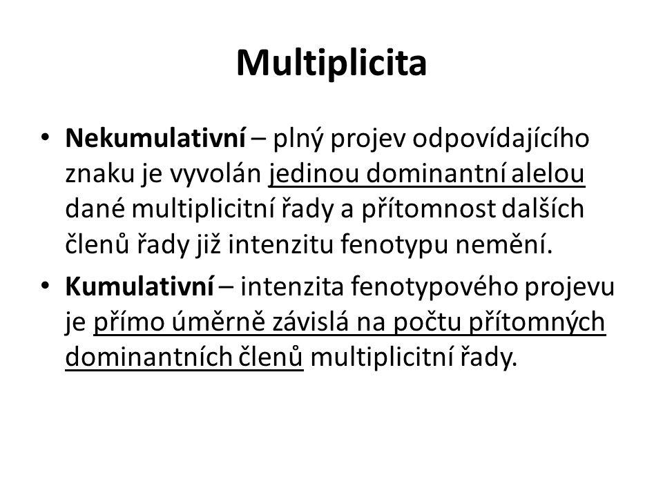 Multiplicita Nekumulativní – plný projev odpovídajícího znaku je vyvolán jedinou dominantní alelou dané multiplicitní řady a přítomnost dalších členů řady již intenzitu fenotypu nemění.