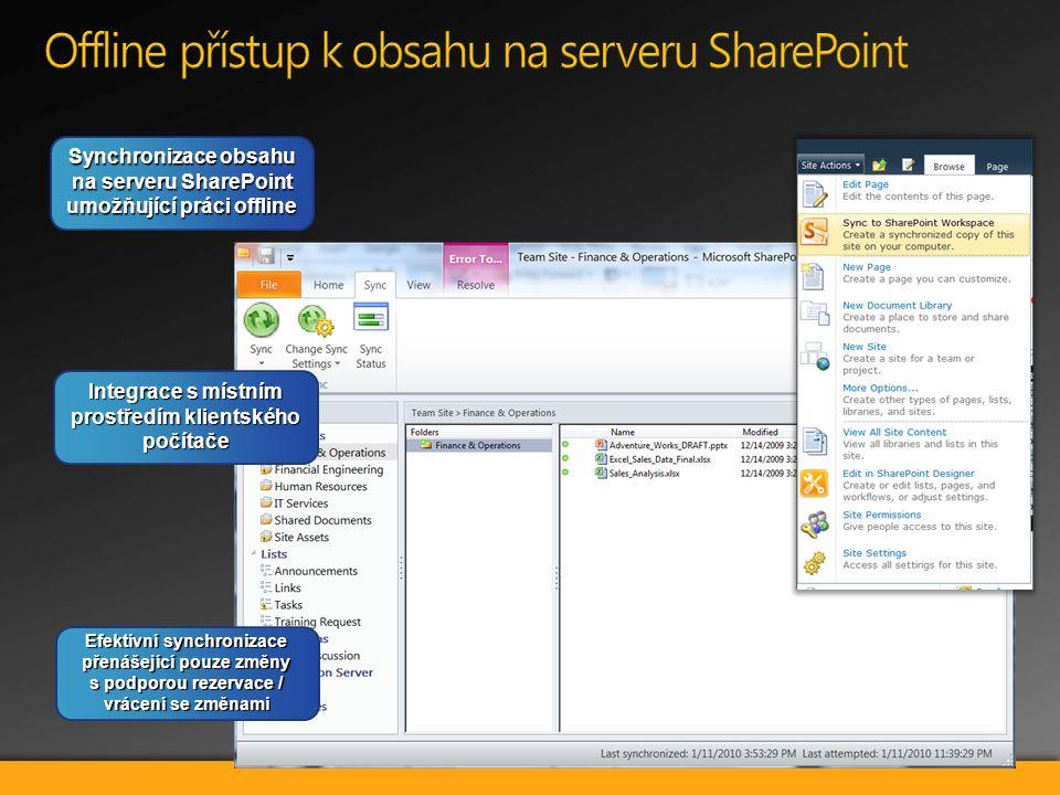Synchronizace obsahu na serveru SharePoint umožňující práci offline Integrace s místním prostředím klientského počítače Efektivní synchronizace přenášející pouze změny s podporou rezervace / vrácení se změnami