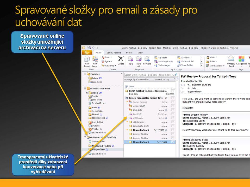 Spravované online složky umožňující archivaci na serveru Transparentní uživatelské prostředí díky zobrazení konverzace nebo při vyhledávání