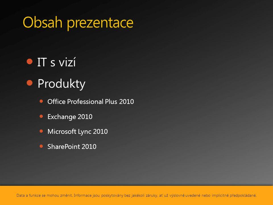 IT s vizí Produkty Office Professional Plus 2010 Exchange 2010 Microsoft Lync 2010 SharePoint 2010 Data a funkce se mohou změnit. Informace jsou posky