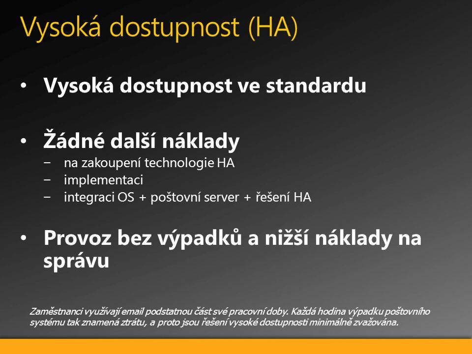 Vysoká dostupnost ve standardu Žádné další náklady −na zakoupení technologie HA −implementaci −integraci OS + poštovní server + řešení HA Provoz bez v
