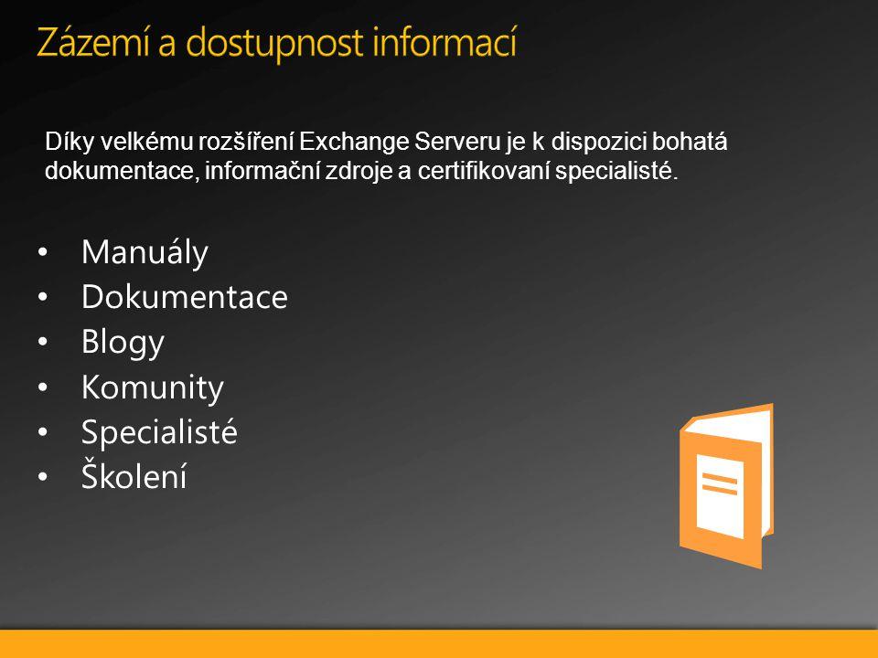Díky velkému rozšíření Exchange Serveru je k dispozici bohatá dokumentace, informační zdroje a certifikovaní specialisté.