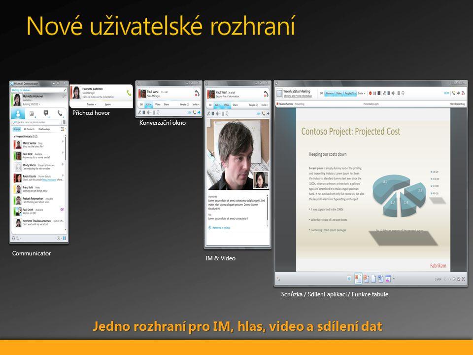Communicator Příchozí hovor IM & Video Konverzační okno Schůzka / Sdílení aplikací / Funkce tabule Jedno rozhraní pro IM, hlas, video a sdílení dat