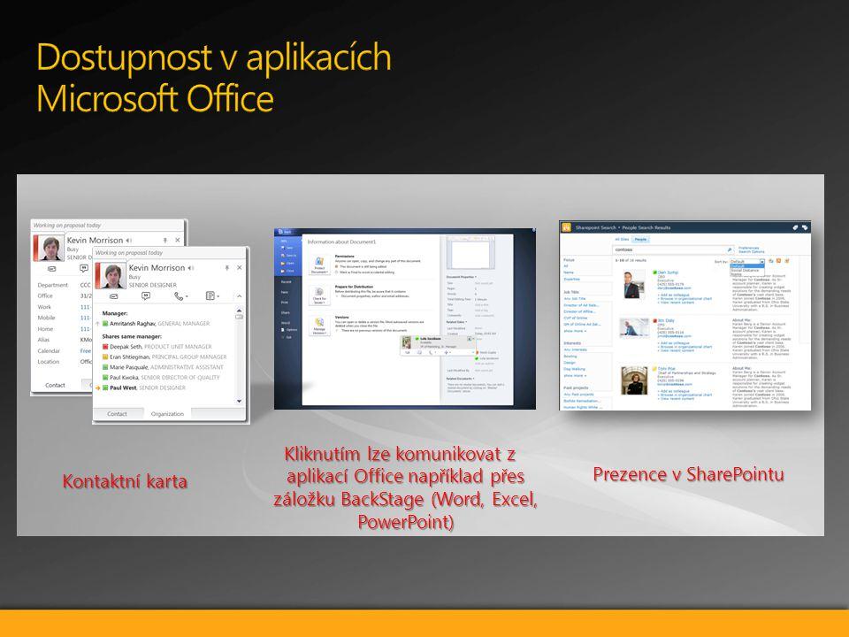 Kontaktní karta Kliknutím lze komunikovat z aplikací Office například přes záložku BackStage (Word, Excel, PowerPoint) Prezence v SharePointu
