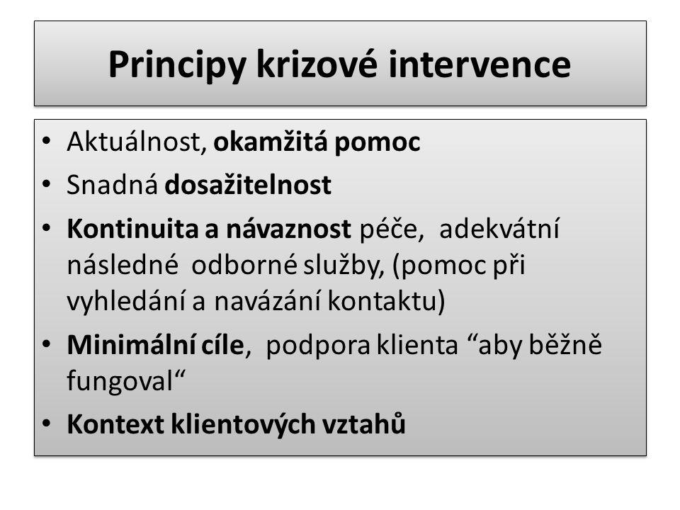 Principy krizové intervence Aktuálnost, okamžitá pomoc Snadná dosažitelnost Kontinuita a návaznost péče, adekvátní následné odborné služby, (pomoc při