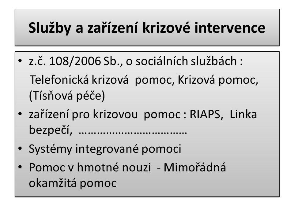 Služby a zařízení krizové intervence z.č. 108/2006 Sb., o sociálních službách : Telefonická krizová pomoc, Krizová pomoc, (Tísňová péče) zařízení pro
