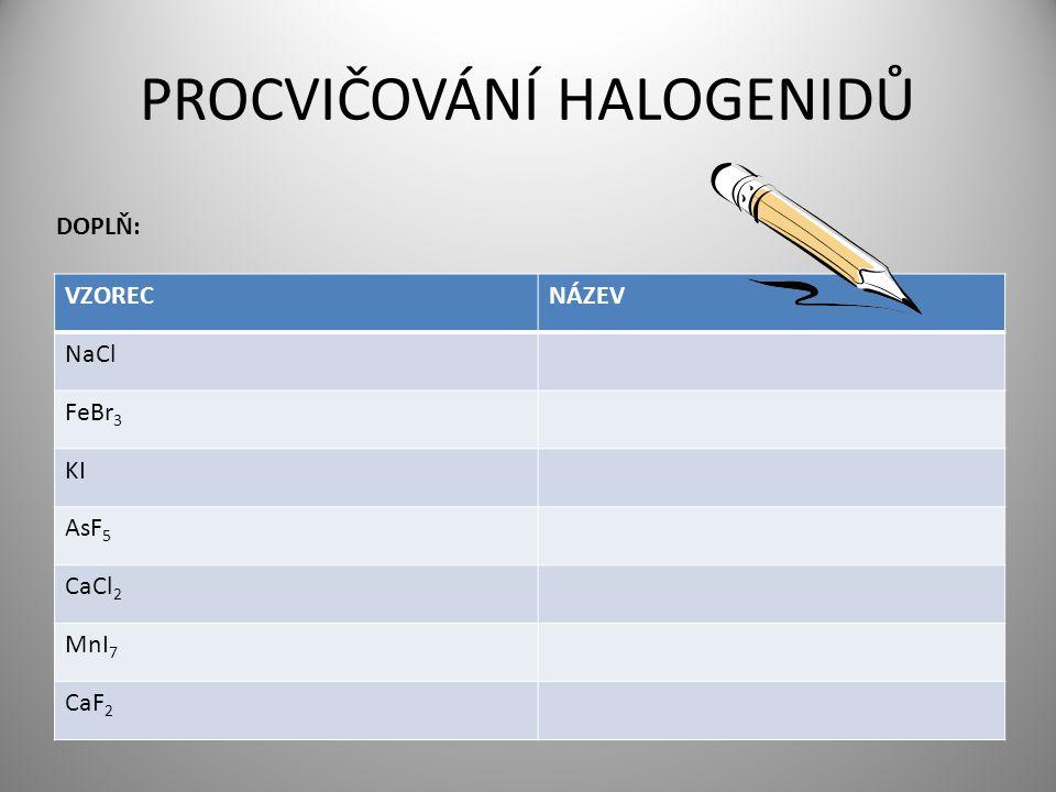 Vytvoř vzorce následujících halogenidů Jodid vápenatý Bromid fosforečný I -I F -I B Ca 1,2,3,4,5,6,7,8 +I +II +III +IV +V +VI CaI 2 PBr 5