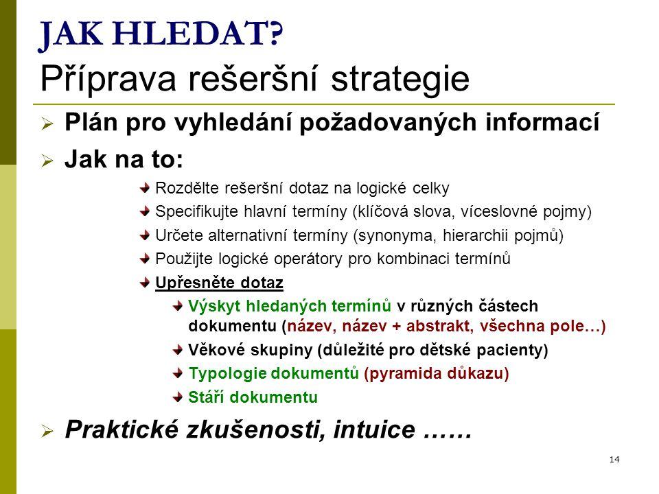 14 JAK HLEDAT? Příprava rešeršní strategie  Plán pro vyhledání požadovaných informací  Jak na to: Rozdělte rešeršní dotaz na logické celky Specifiku