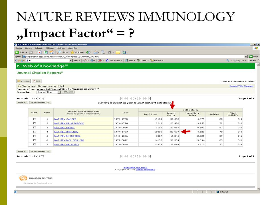 "35 NATURE REVIEWS IMMUNOLOGY ""Impact Factor = ?"