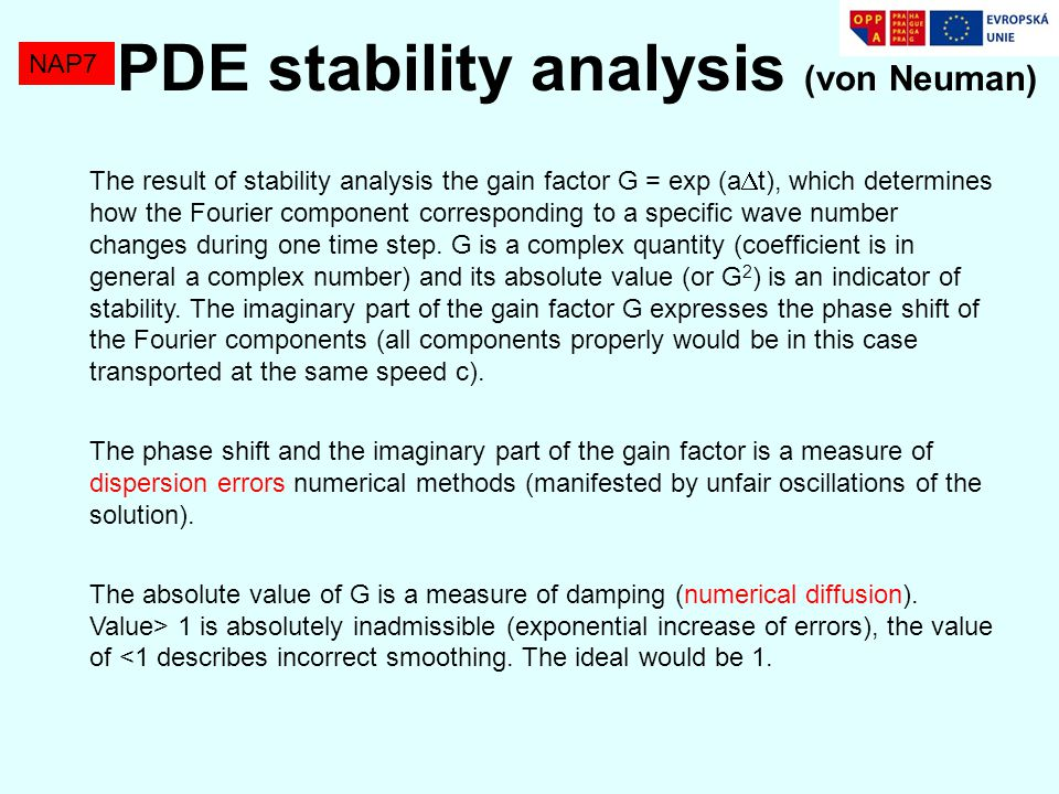 NAP7 PDE finite differences Analysis of PDE with second derivatives.