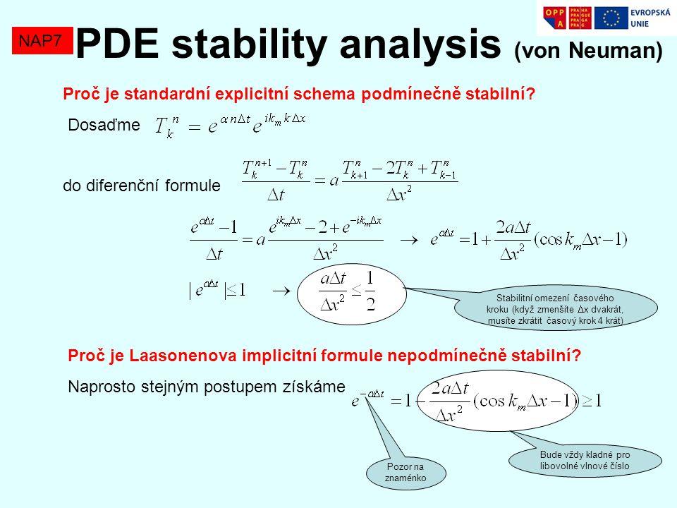 Proč je standardní explicitní schema podmínečně stabilní? Dosaďme do diferenční formule NAP7 PDE stability analysis (von Neuman) Stabilitní omezení ča
