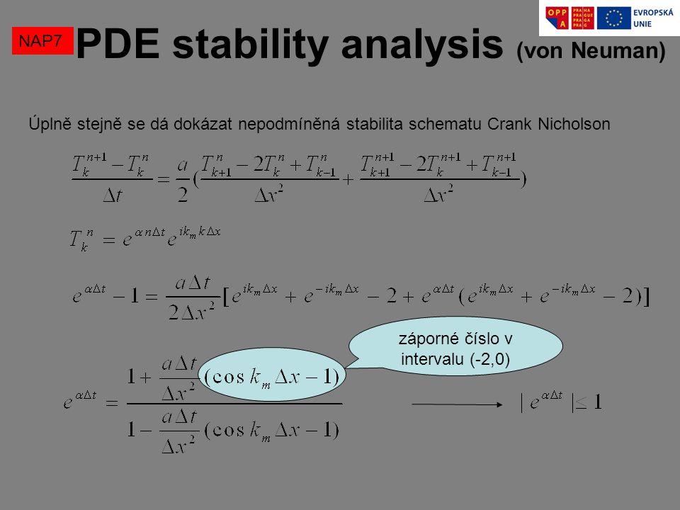 NAP7 PDE stability analysis (von Neuman) Úplně stejně se dá dokázat nepodmíněná stabilita schematu Crank Nicholson záporné číslo v intervalu (-2,0)