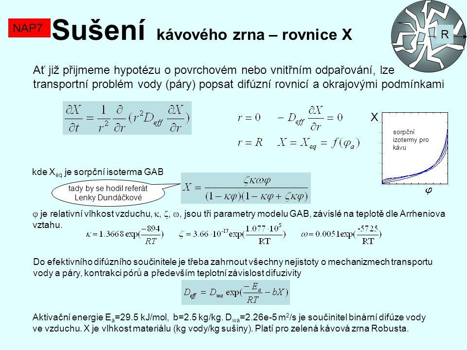 NAP7 Sušení kávového zrna – rovnice X R Ať již přijmeme hypotézu o povrchovém nebo vnitřním odpařování, lze transportní problém vody (páry) popsat dif