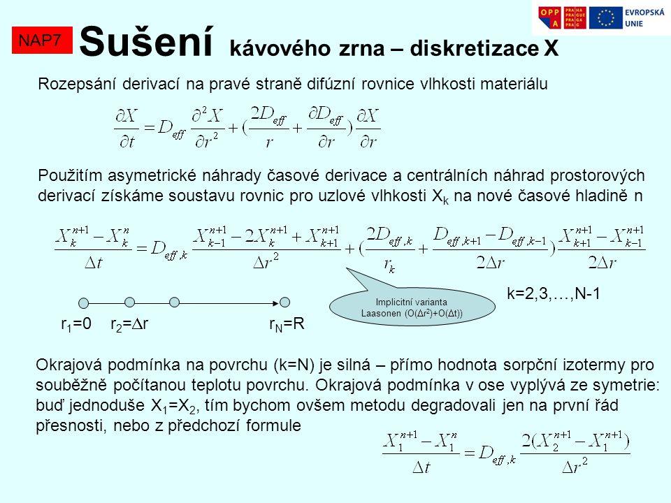 NAP7 Sušení kávového zrna – diskretizace X Rozepsání derivací na pravé straně difúzní rovnice vlhkosti materiálu Použitím asymetrické náhrady časové d