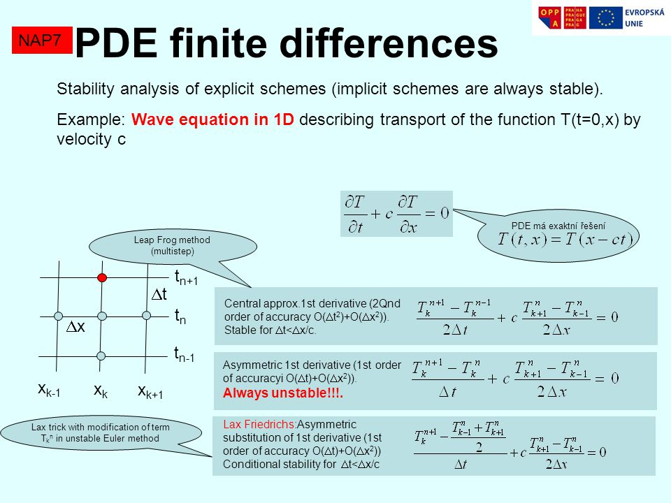 NAP7 PDE finite differences Order of accuracy can be increased at single step methods in a similar way like Runge Kutta methods, by evaluating values of derivativbes at intermediate time steps.
