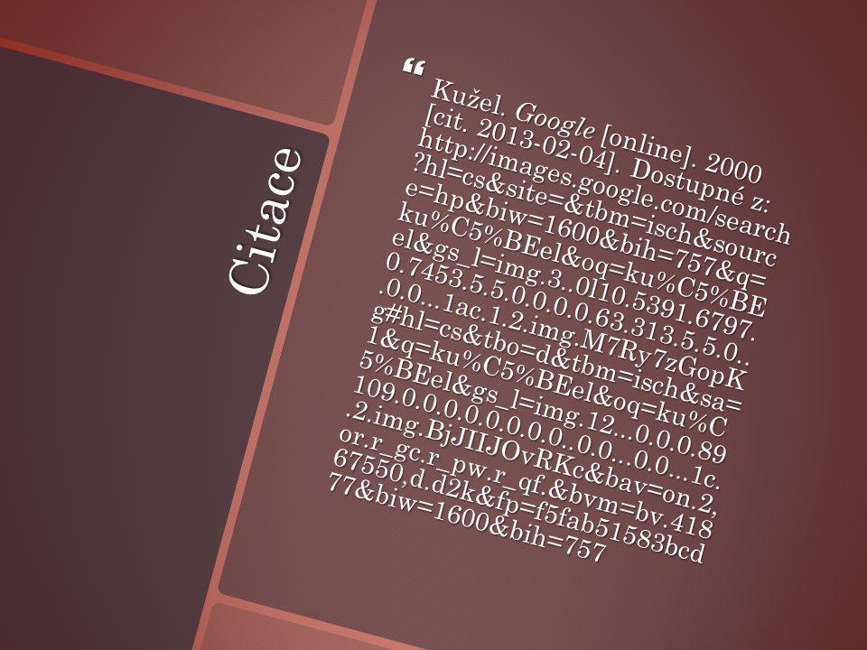 Citace  Kužel. Google [online]. 2000 [cit. 2013-02-04].