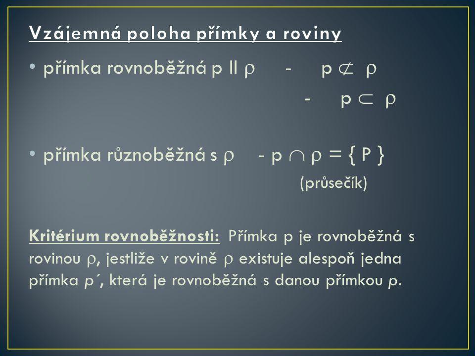 přímka rovnoběžná p II  - p   - p   přímka různoběžná s  - p   = { P } (průsečík) Kritérium rovnoběžnosti: Přímka p je rovnoběžná s rovinou , jestliže v rovině  existuje alespoň jedna přímka p´, která je rovnoběžná s danou přímkou p.