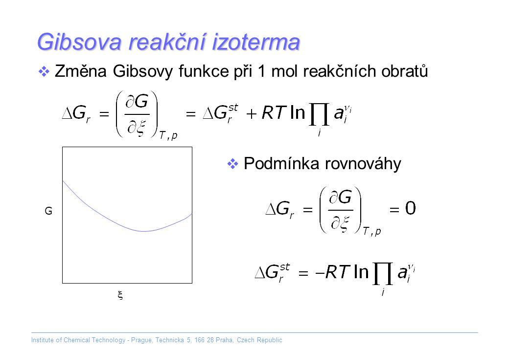 Institute of Chemical Technology - Prague, Technicka 5, 166 28 Praha, Czech Republic Gibsova reakční izoterma  Změna Gibsovy funkce při 1 mol reakční