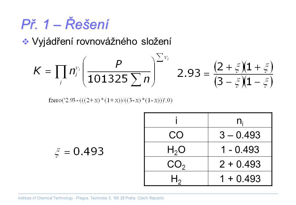 Institute of Chemical Technology - Prague, Technicka 5, 166 28 Praha, Czech Republic Př. 1 – Řešení  Vyjádření rovnovážného složení inini CO3 – 0.493