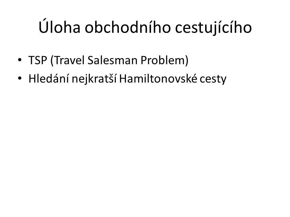 Úloha obchodního cestujícího TSP (Travel Salesman Problem) Hledání nejkratší Hamiltonovské cesty