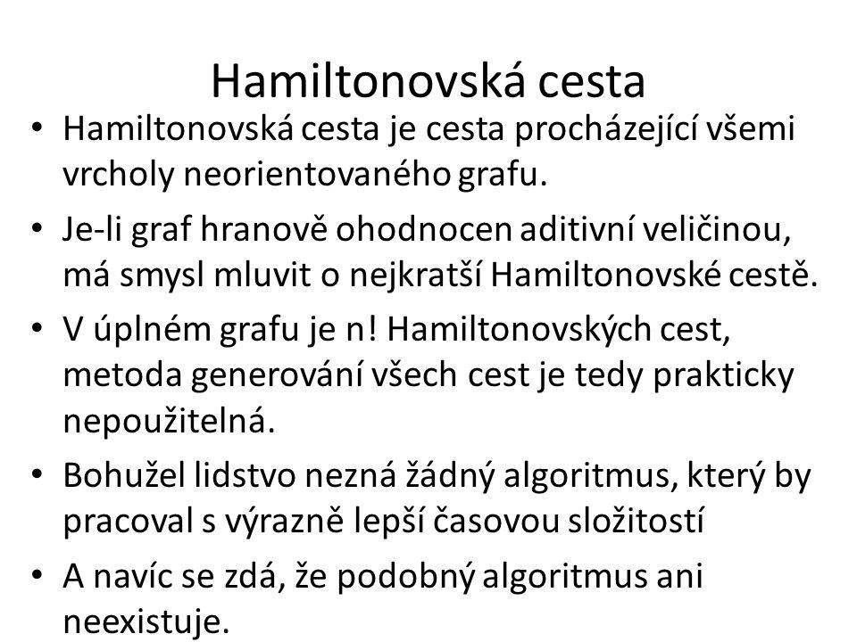 Hamiltonovská cesta Hamiltonovská cesta je cesta procházející všemi vrcholy neorientovaného grafu.