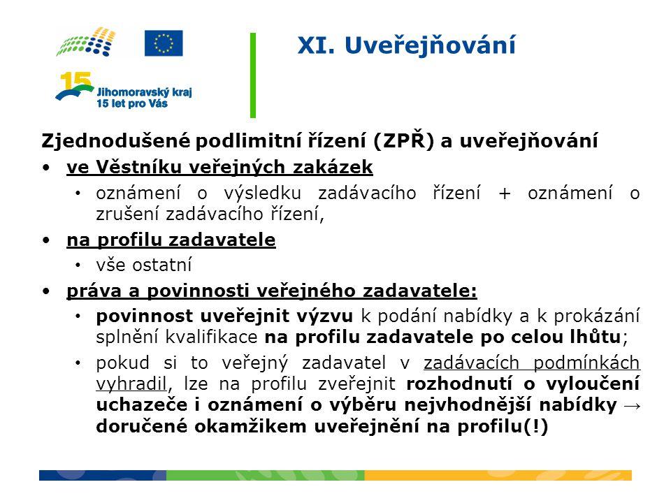 XI. Uveřejňování Zjednodušené podlimitní řízení (ZPŘ) a uveřejňování ve Věstníku veřejných zakázek oznámení o výsledku zadávacího řízení + oznámení o