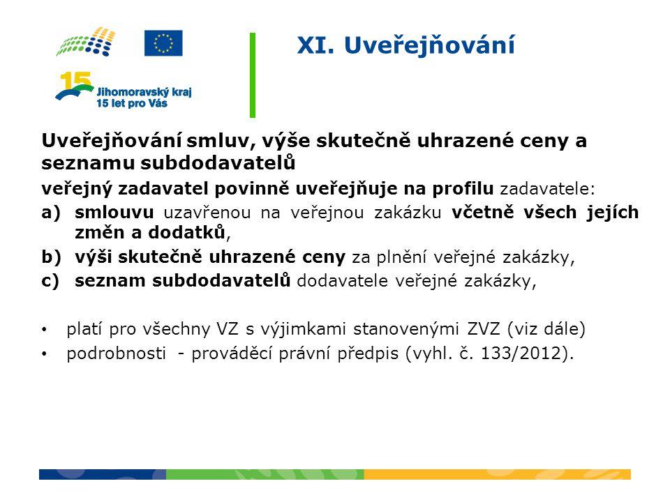 XI. Uveřejňování Uveřejňování smluv, výše skutečně uhrazené ceny a seznamu subdodavatelů veřejný zadavatel povinně uveřejňuje na profilu zadavatele: a