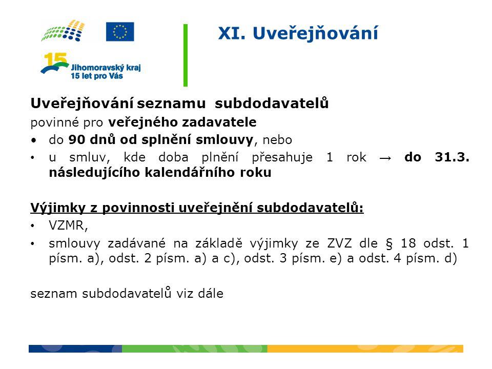 XI. Uveřejňování Uveřejňování seznamu subdodavatelů povinné pro veřejného zadavatele do 90 dnů od splnění smlouvy, nebo u smluv, kde doba plnění přesa