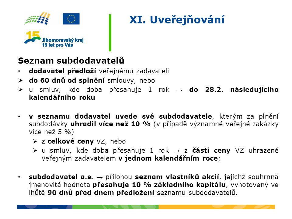 XI. Uveřejňování Seznam subdodavatelů dodavatel předloží veřejnému zadavateli  do 60 dnů od splnění smlouvy, nebo  u smluv, kde doba přesahuje 1 rok