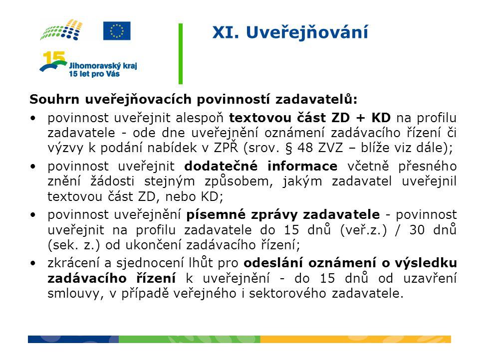 XI. Uveřejňování Souhrn uveřejňovacích povinností zadavatelů: povinnost uveřejnit alespoň textovou část ZD + KD na profilu zadavatele - ode dne uveřej