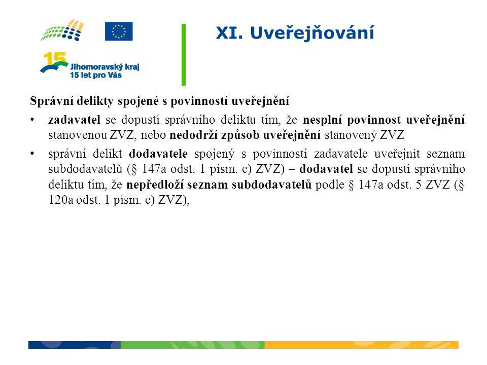 XI. Uveřejňování Správní delikty spojené s povinností uveřejnění zadavatel se dopustí správního deliktu tím, že nesplní povinnost uveřejnění stanoveno