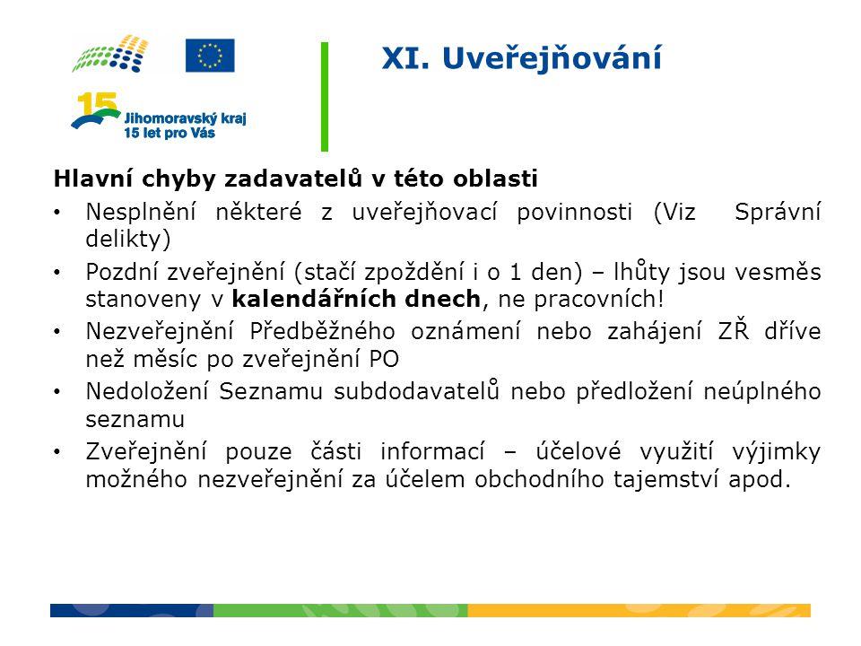 XI. Uveřejňování Hlavní chyby zadavatelů v této oblasti Nesplnění některé z uveřejňovací povinnosti (Viz Správní delikty) Pozdní zveřejnění (stačí zpo
